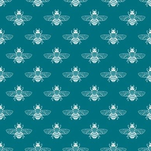 Baby Bee White on Teal