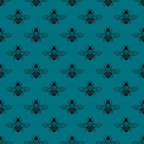 Baby Bee Black on Teal