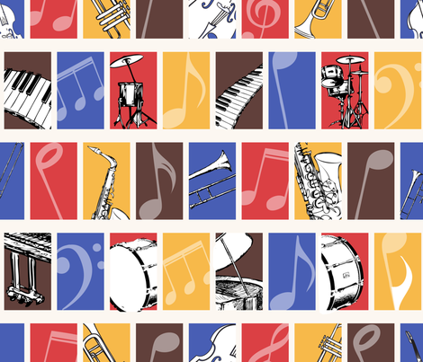 A Jazz Ensemble fabric by illustrative_images on Spoonflower - custom fabric