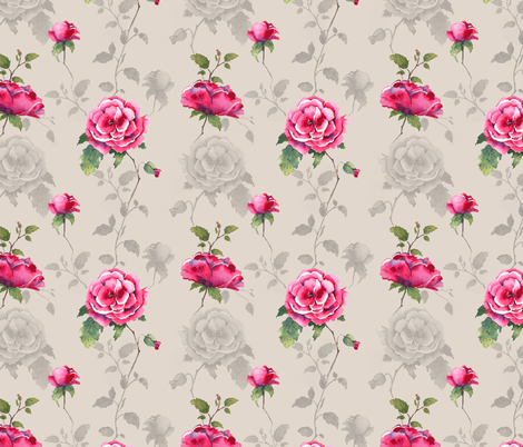 Floral Fairytale - Neutral fabric by caitieillustrates on Spoonflower - custom fabric