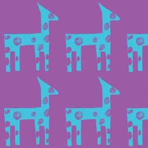 Turquoise Giraffe on Mauve