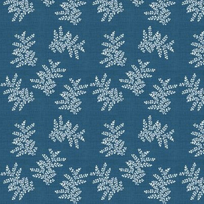 Delicate Fern, Enamel Blue Linen