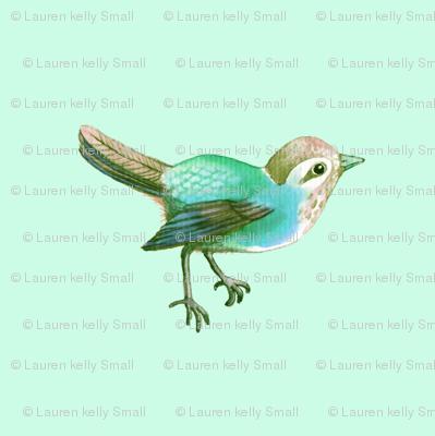 Little Green Song Bird on Mint