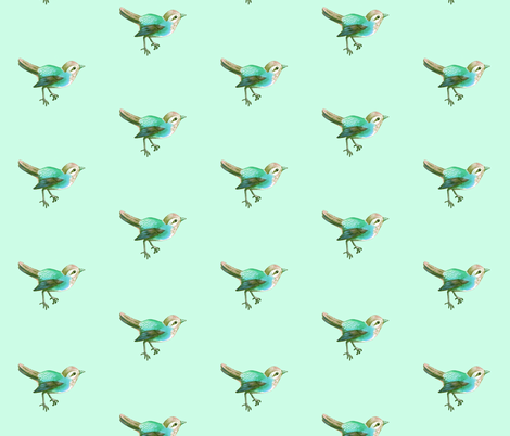 Little Green Song Bird on Mint fabric by thistleandfox on Spoonflower - custom fabric