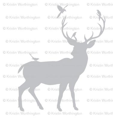 Winter Deer Silhouette in Gray