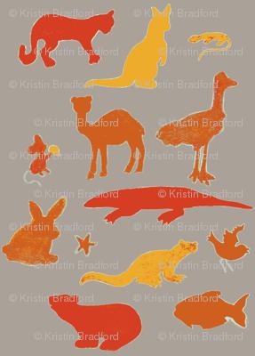 Animals Around the World in Orange and Gray