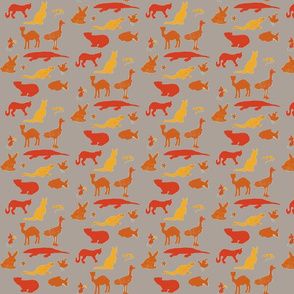 Animals Around the World in Orange and Gray