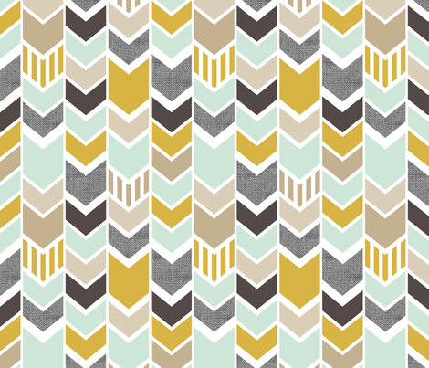 Mint Gold Chevron fabric by mrshervi on Spoonflower - custom fabric
