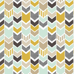 Mint Gold Chevron