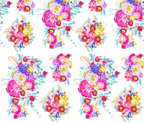Bright Spring Floral Painting Fabric with White Background fabric by theartwerks on Spoonflower - custom fabric