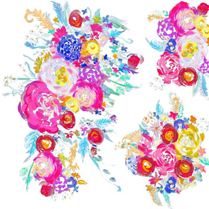 Bright Spring Floral Painting Fabric with White Background