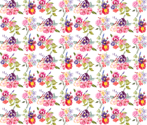 Spring Watercolor Bouquet Fabric Theartwerks Spoonflower