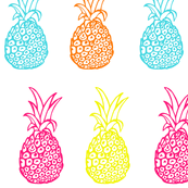 Neon Summer Bright Pineapple Party Print