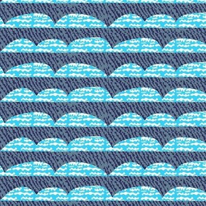 Clouds on Navy squiggles