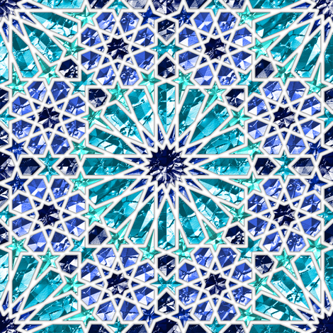 Geometric gemstones (sapphire) fabric by analinea on Spoonflower - custom fabric