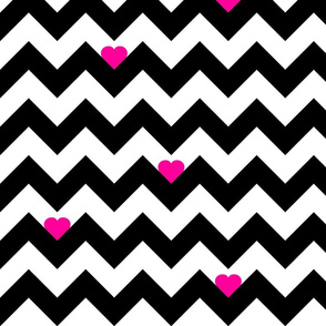 Heart & Chevron - Black/Pink