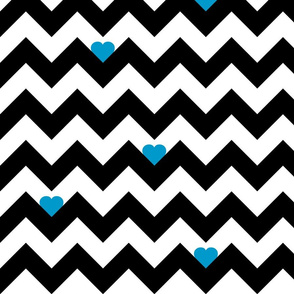 Heart & Chevron - Black/Blue
