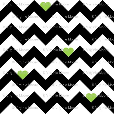 Heart & Chevron - Black/Green