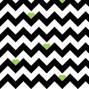 Heart & Chevron - Black/Green