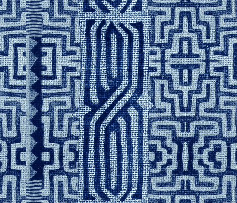 BaKuba blue fabric by chicca_besso on Spoonflower - custom fabric