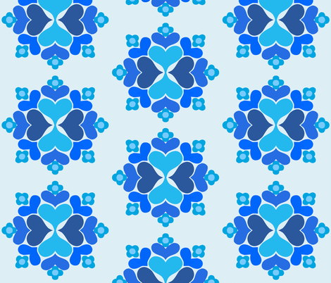 queen_of_hearts_blue fabric by myracle on Spoonflower - custom fabric