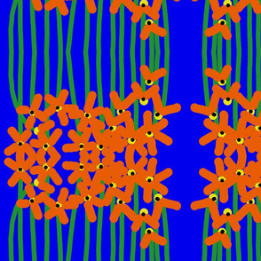 Orange Flowers on Blue #1