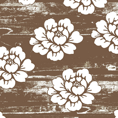 Mocha Floribunda Grunge fabric by parisbebe on Spoonflower - custom fabric