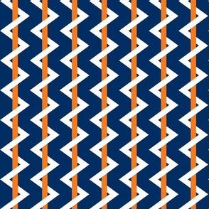 Stripe Chevron navy - orange - white