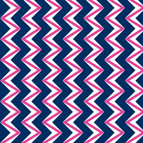 nested chevron modern pink - navy