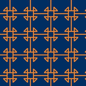 square knot orange - navy