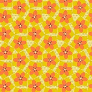 Pentagon Floral Allover  -Spring Floral Quilt Block palette