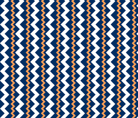 Two Frequency Chevrons orange - navy - white fabric by arm_pillozzz on Spoonflower - custom fabric