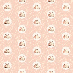 Bunnies in Love, Smaller,  Retro Peach Polka Dot Flower
