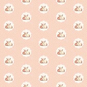 Bunnies in Love on Retro Peach Polka Dot Flower