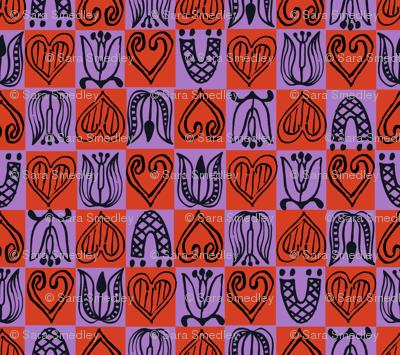 Dutch Hearts - violet & red