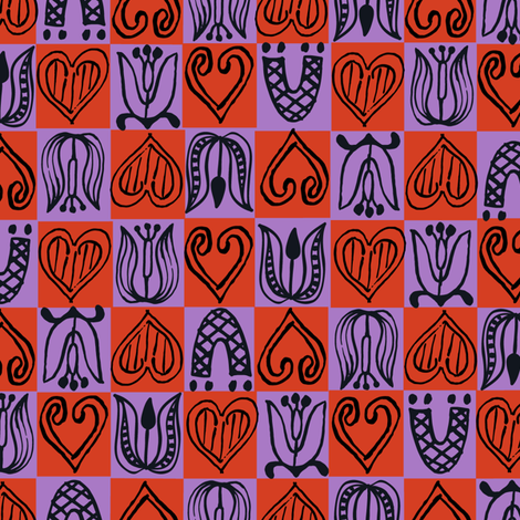 Dutch Hearts - violet & red fabric by sara_smedley on Spoonflower - custom fabric
