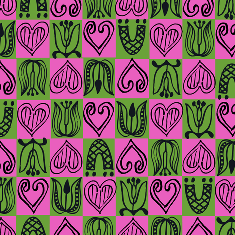 Dutch Hearts - raspberry & violet fabric by sara_smedley on Spoonflower - custom fabric