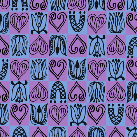 Dutch Hearts - blue & violet fabric by sara_smedley on Spoonflower - custom fabric