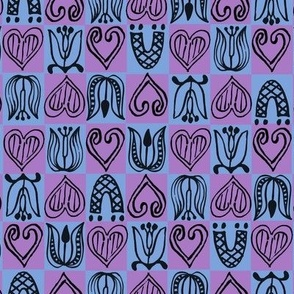 Dutch Hearts - blue & violet