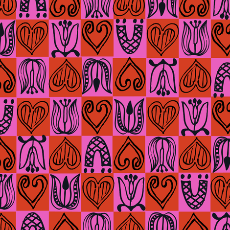 Dutch Hearts - red & raspberry fabric by sara_smedley on Spoonflower - custom fabric