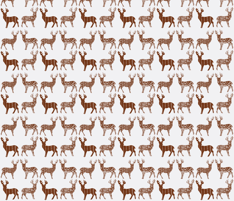 Brown Meadow Deer on White SMALL SCALE   fabric by kbexquisites on Spoonflower - custom fabric
