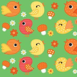 Springtime Birdies & Mushrooms- Green