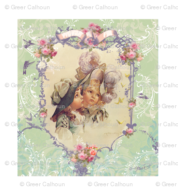 Victorian Girls in Bonnets Pillow panel