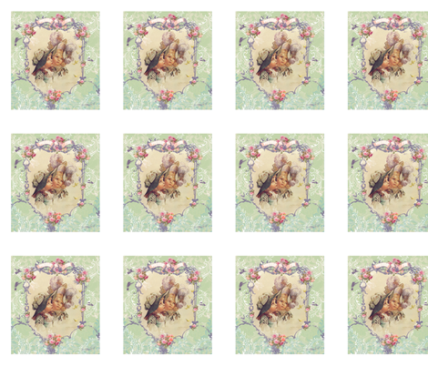 Victorian Girls in Bonnets Pillow panel fabric by greerdesign on Spoonflower - custom fabric