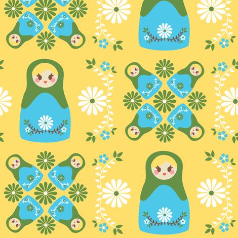 Cute Nesting Dolls - Yellow fabric by boredinc on Spoonflower - custom fabric