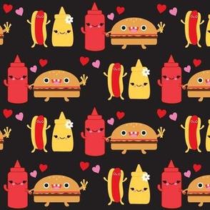 Hamburger, Ketchup & Mustard