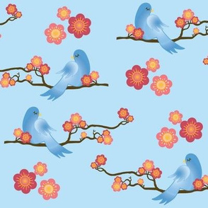 Bird on Branch - Light Blue