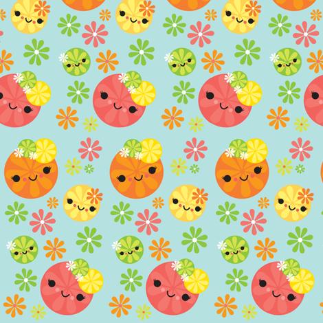 Kawaii Citrus - Mint Green fabric by boredinc on Spoonflower - custom fabric