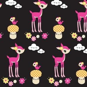 Kawaii Deer & Mushrooms- Black & Pink