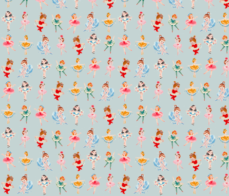 At the Ballet Ballerina Curtsy Dance pose fabric by parisbebe on Spoonflower - custom fabric